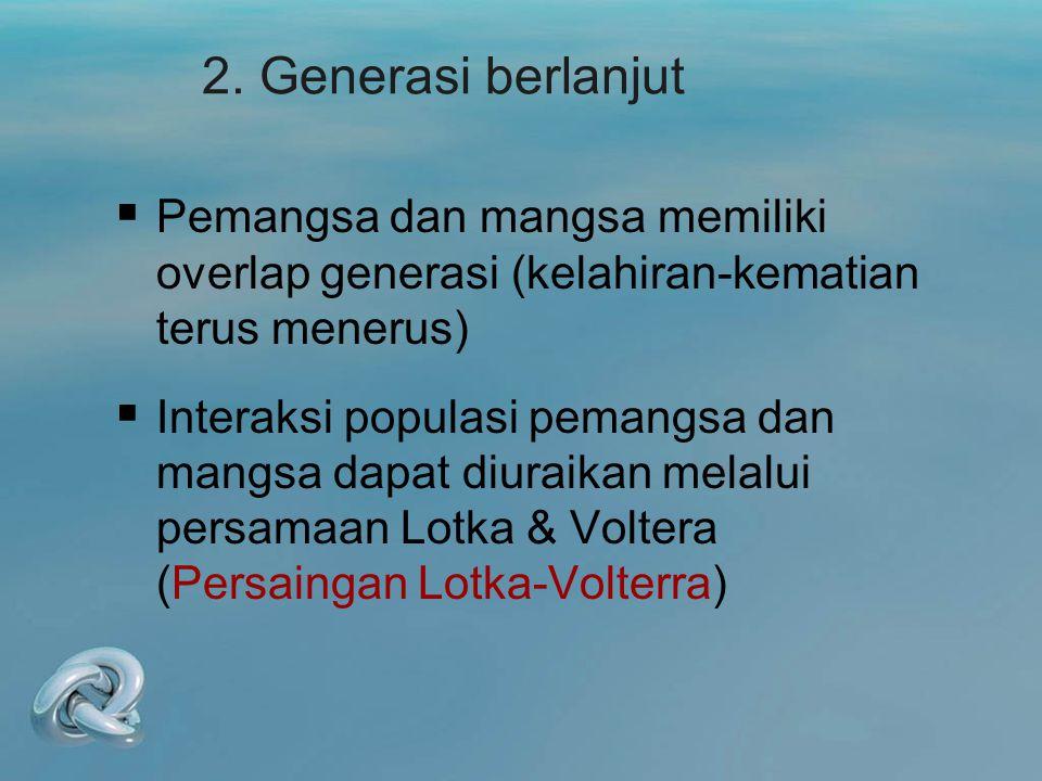 2. Generasi berlanjut  Pemangsa dan mangsa memiliki overlap generasi (kelahiran-kematian terus menerus)  Interaksi populasi pemangsa dan mangsa dapa