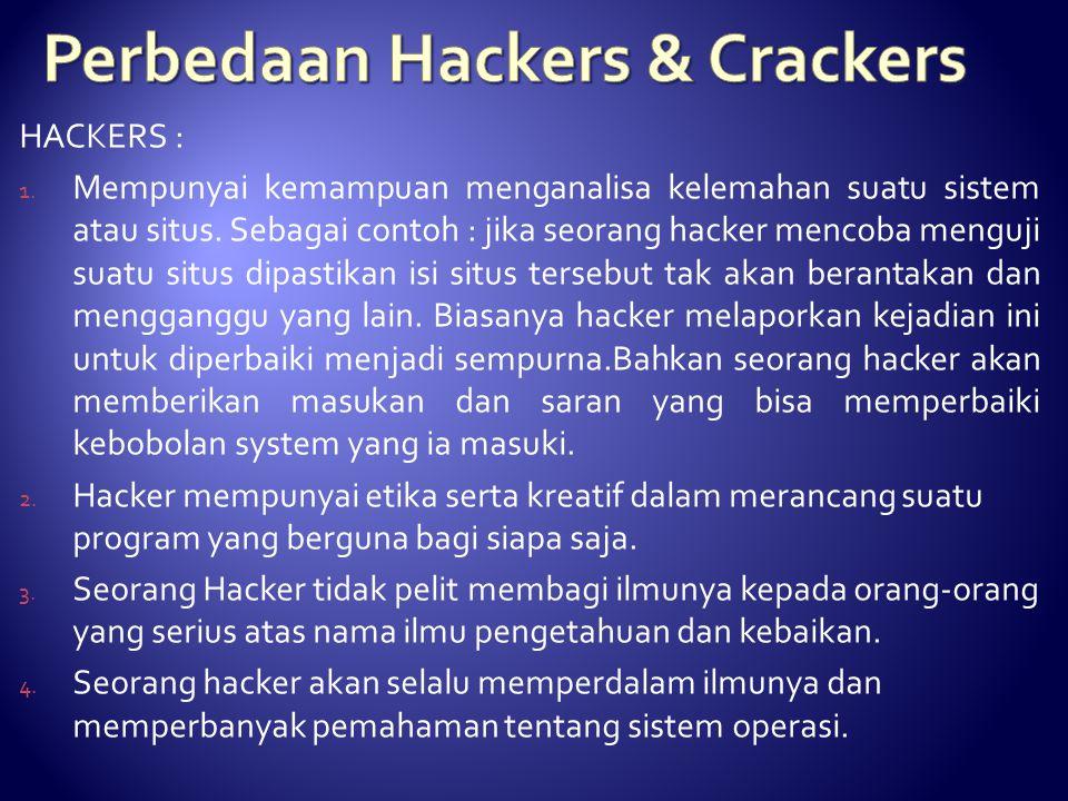 HACKERS : 1. Mempunyai kemampuan menganalisa kelemahan suatu sistem atau situs. Sebagai contoh : jika seorang hacker mencoba menguji suatu situs dipas