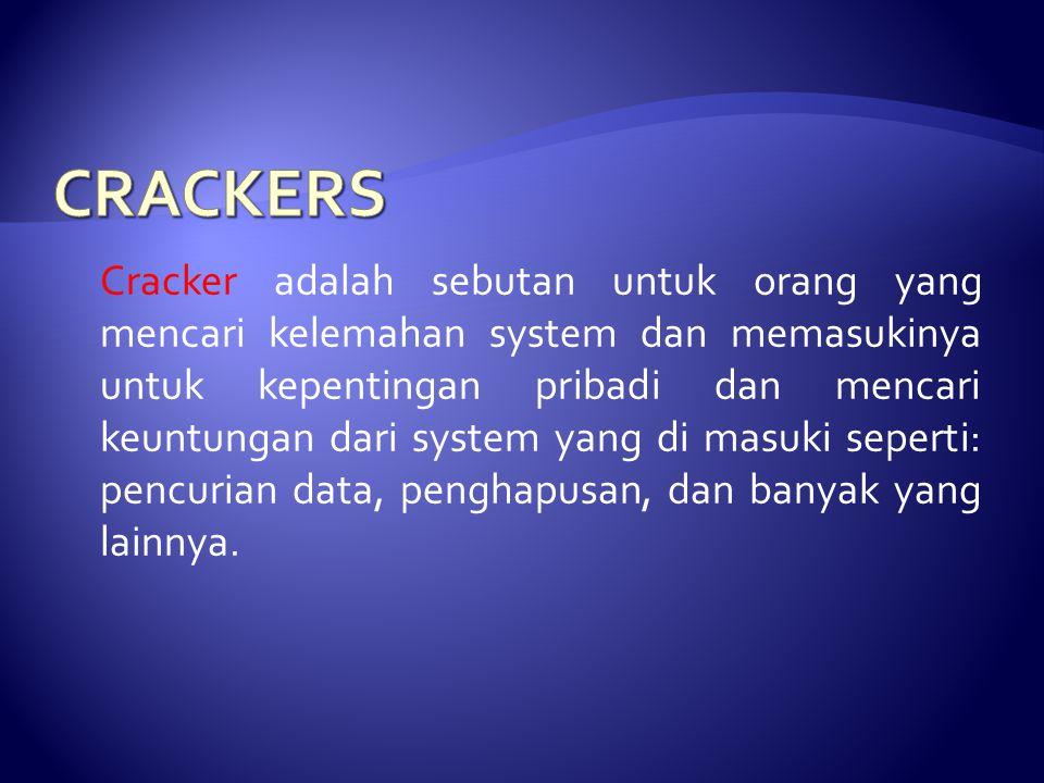 Cracker adalah sebutan untuk orang yang mencari kelemahan system dan memasukinya untuk kepentingan pribadi dan mencari keuntungan dari system yang di
