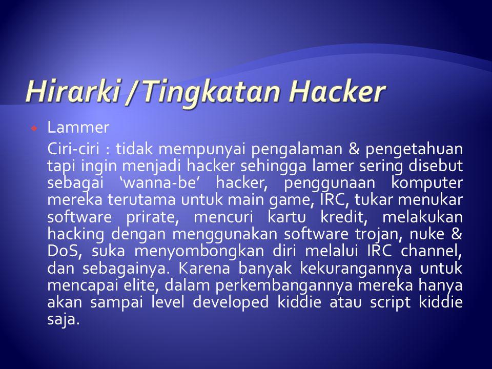  Lammer Ciri-ciri : tidak mempunyai pengalaman & pengetahuan tapi ingin menjadi hacker sehingga lamer sering disebut sebagai 'wanna-be' hacker, pengg