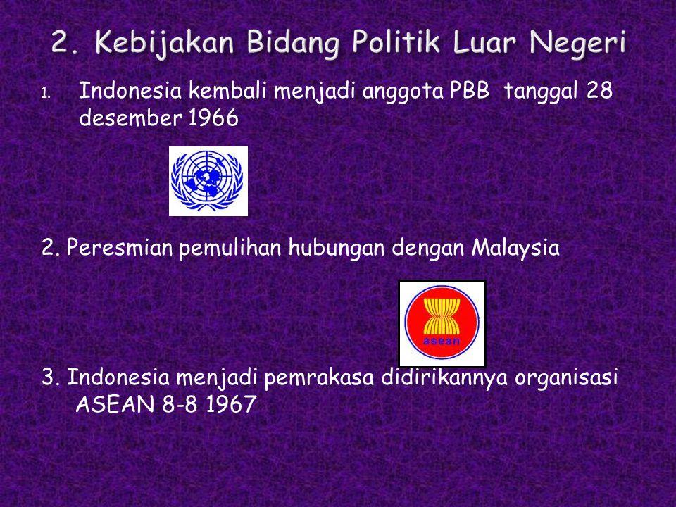 1. Indonesia kembali menjadi anggota PBB tanggal 28 desember 1966 2. Peresmian pemulihan hubungan dengan Malaysia 3. Indonesia menjadi pemrakasa didir