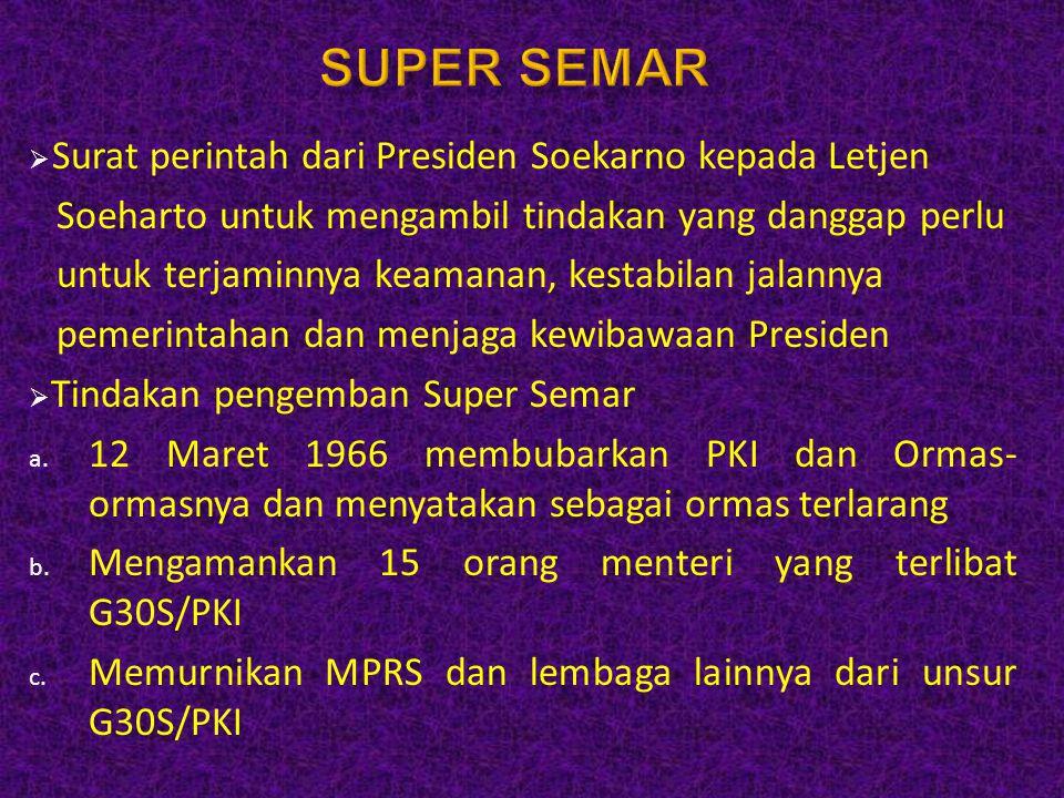  Surat perintah dari Presiden Soekarno kepada Letjen Soeharto untuk mengambil tindakan yang danggap perlu untuk terjaminnya keamanan, kestabilan jala