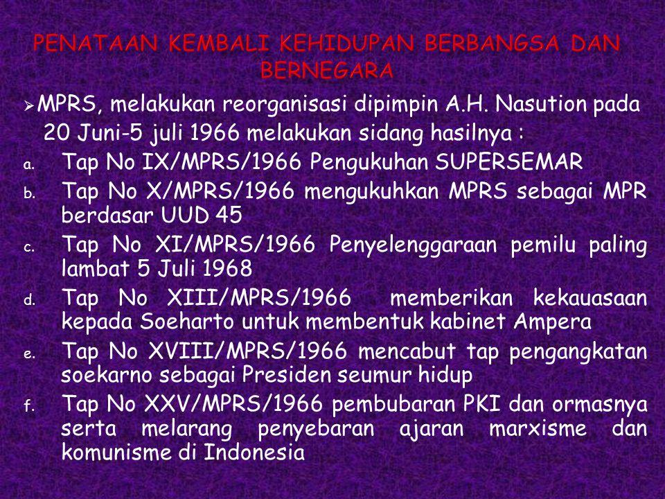  MPRS, melakukan reorganisasi dipimpin A.H. Nasution pada 20 Juni-5 juli 1966 melakukan sidang hasilnya : a. Tap No IX/MPRS/1966 Pengukuhan SUPERSEMA