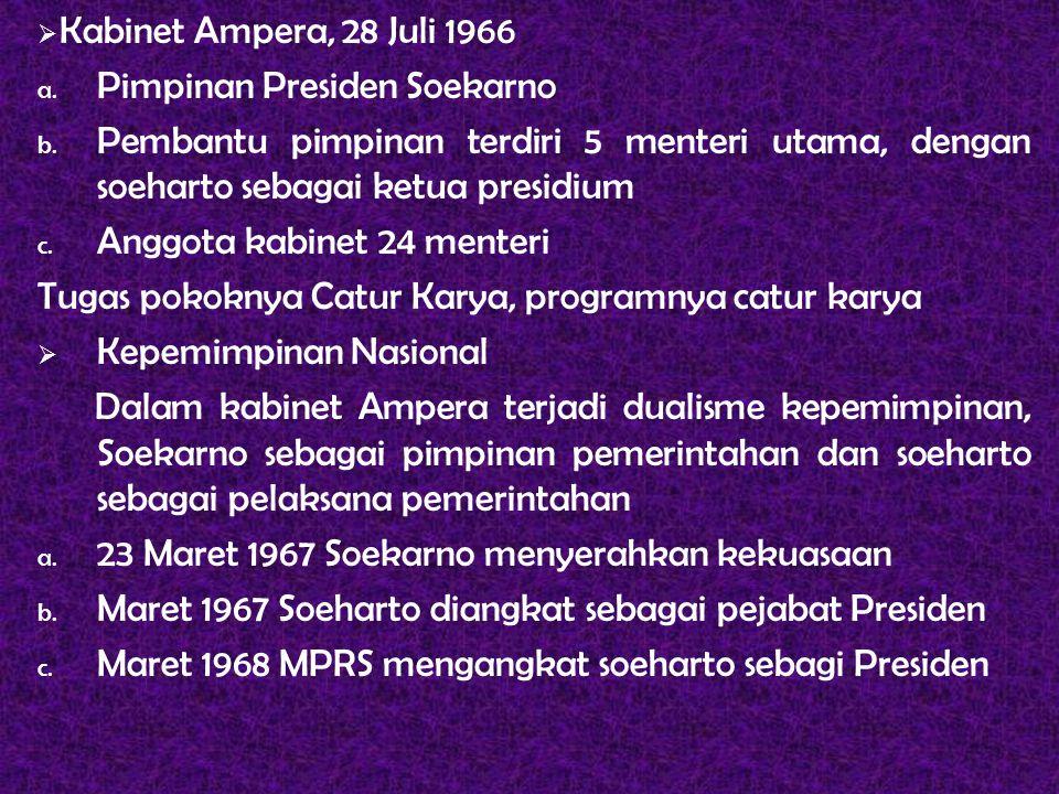  Kabinet Ampera, 28 Juli 1966 a. Pimpinan Presiden Soekarno b. Pembantu pimpinan terdiri 5 menteri utama, dengan soeharto sebagai ketua presidium c.