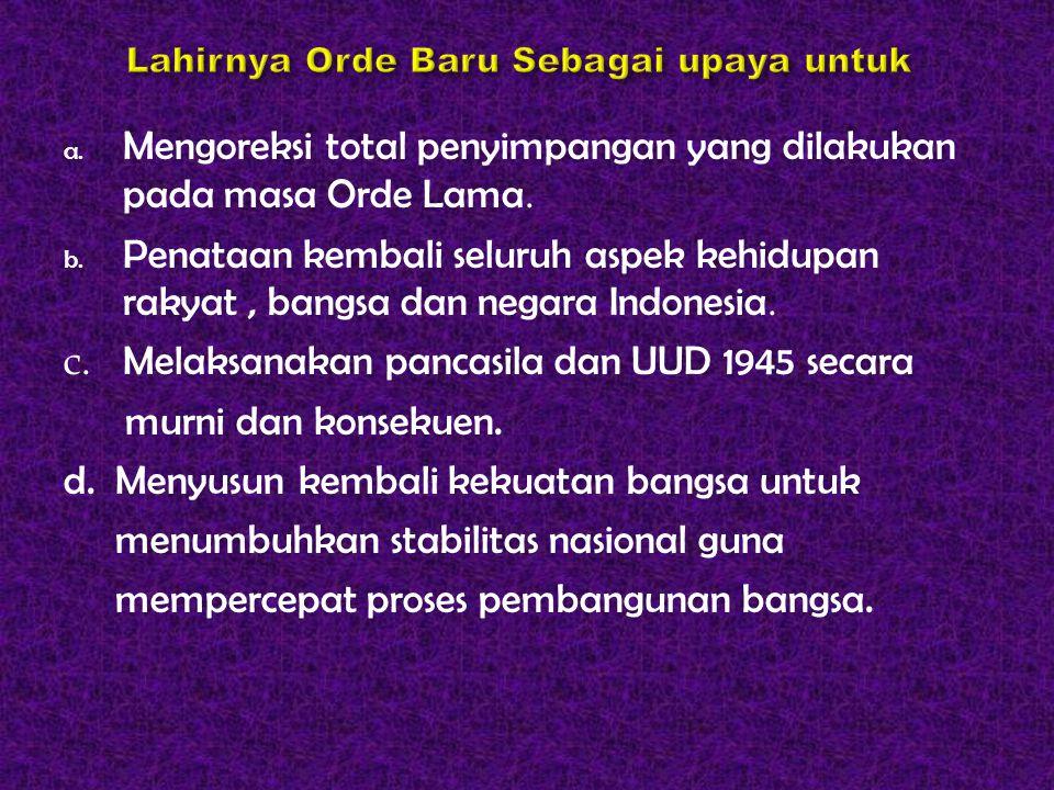 a. Mengoreksi total penyimpangan yang dilakukan pada masa Orde Lama. b. Penataan kembali seluruh aspek kehidupan rakyat, bangsa dan negara Indonesia.