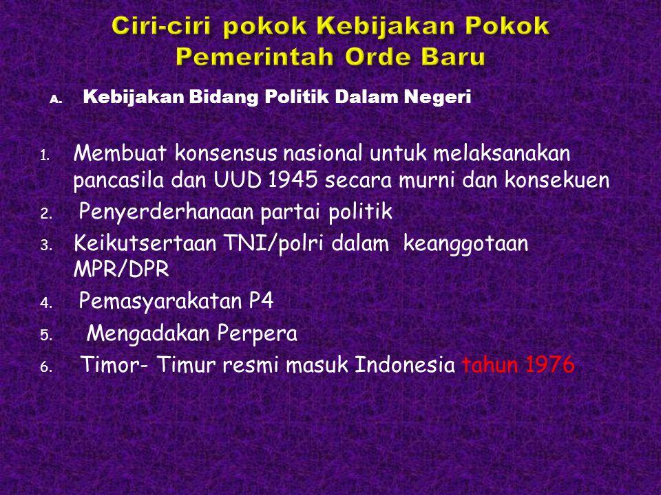 A. Kebijakan Bidang Politik Dalam Negeri 1. Membuat konsensus nasional untuk melaksanakan pancasila dan UUD 1945 secara murni dan konsekuen 2. Penyerd
