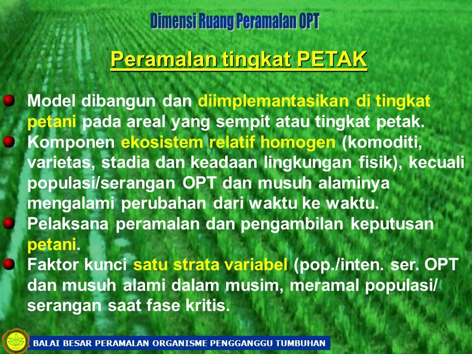 Peramalan tingkat PETAK Model dibangun dan diimplemantasikan di tingkat petani pada areal yang sempit atau tingkat petak. Komponen ekosistem relatif h