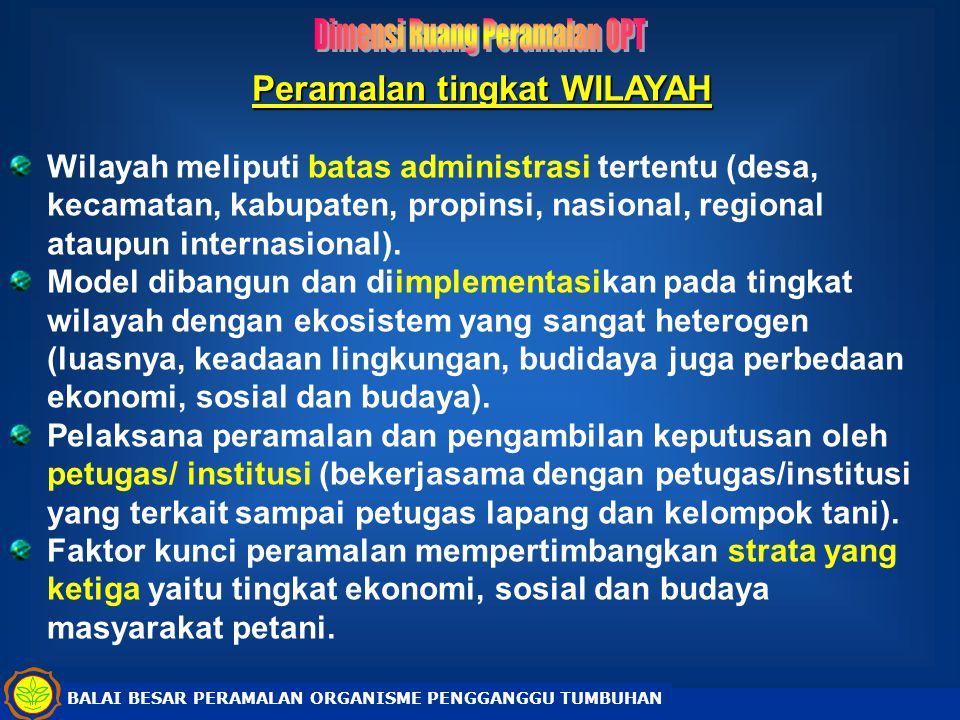 Peramalan tingkat WILAYAH Wilayah meliputi batas administrasi tertentu (desa, kecamatan, kabupaten, propinsi, nasional, regional ataupun internasional