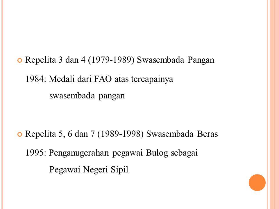 Repelita 3 dan 4 (1979-1989) Swasembada Pangan 1984: Medali dari FAO atas tercapainya swasembada pangan Repelita 5, 6 dan 7 (1989-1998) Swasembada Beras 1995: Penganugerahan pegawai Bulog sebagai Pegawai Negeri Sipil