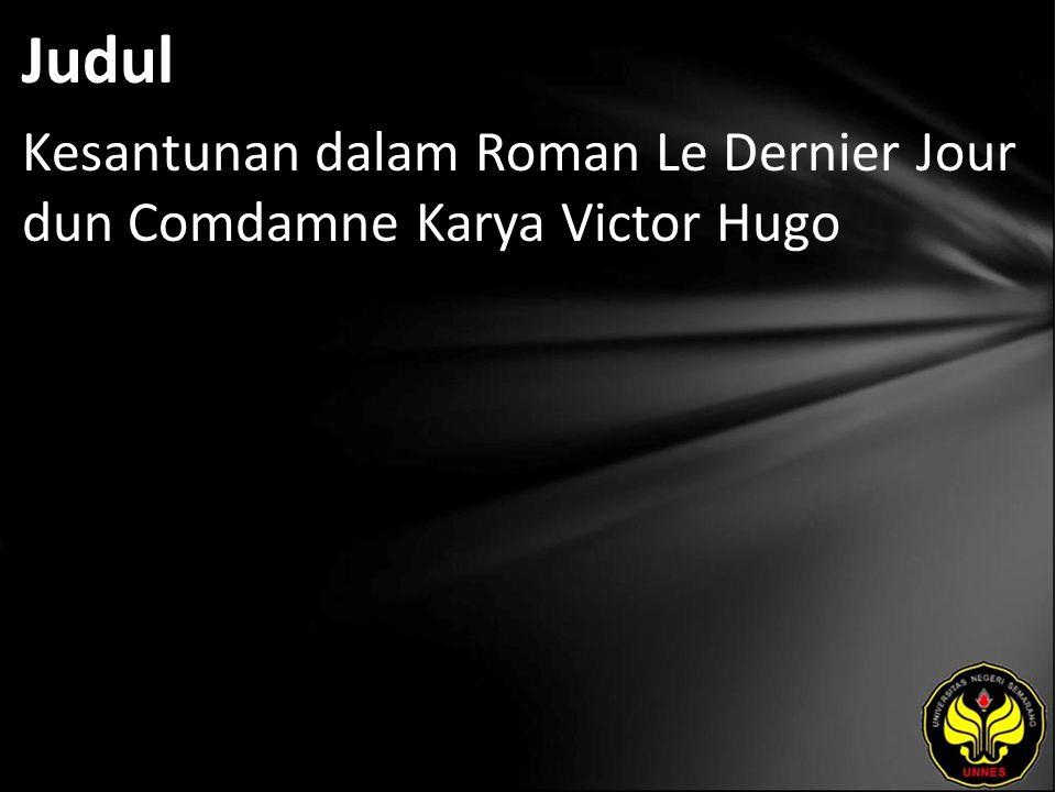 Judul Kesantunan dalam Roman Le Dernier Jour dun Comdamne Karya Victor Hugo