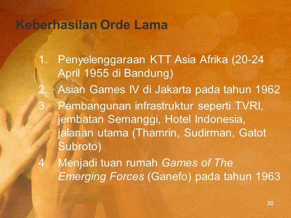 Kekurangan Orde Lama 1.Keluarnya Indonesia dari PBB pada tgl 7 Agustus 1964 2.Terbengkalainya perekonomian Indonesia (inflasi sampai dengan 650%) 3.Situasi politik dalam negeri yang tidak menentu karena lebih memikirkan urusan politik luar negeri 31
