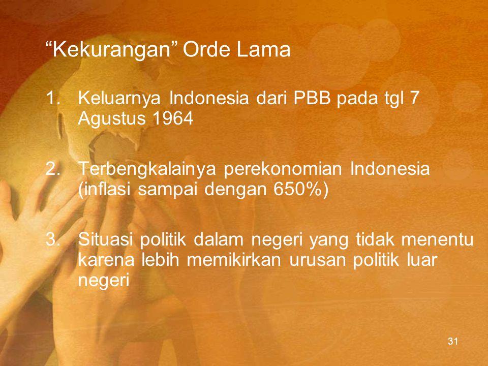 Akhir Orde Lama Masyarakat tidak puas dengan kondisi perekonomian, memunculkan tiga Tuntutan Rakyat (Tritura).
