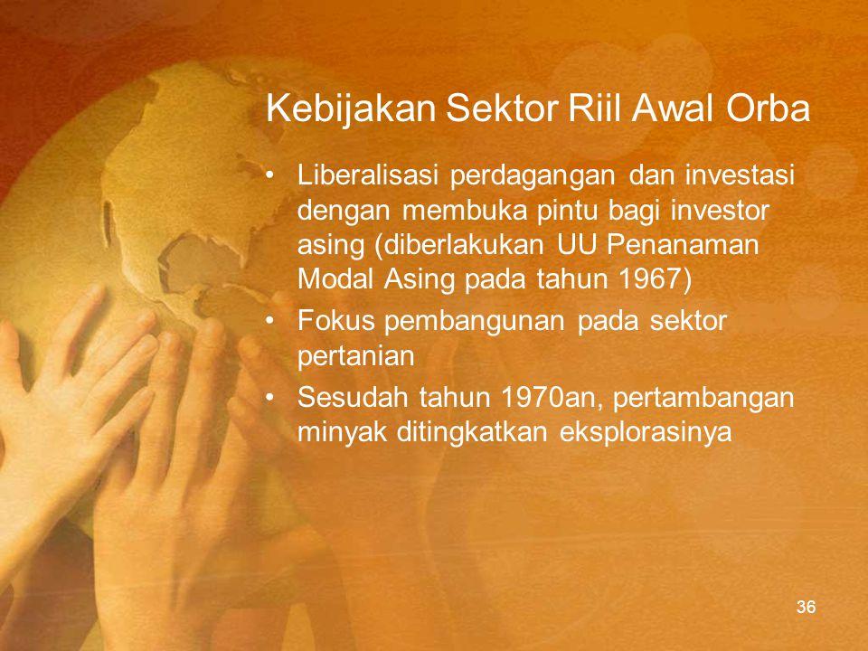 Sejarah Ekonomi Orba 1.Rehabilitasi dan pemulihan (1966-1971) 2.Pertumbuhan cepat (1971-1991) 3.Penyesuaian terhadap anjlognya harga minyak (1982-1997) 4.Liberalisasi dan pemulihan (1987-1997) (versi Hal Hill dalam buku The Indonesian Economy) 37