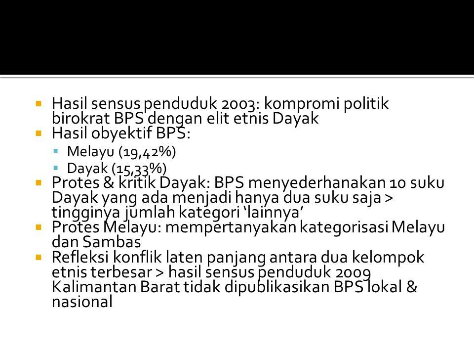  Hasil sensus penduduk 2003: kompromi politik birokrat BPS dengan elit etnis Dayak  Hasil obyektif BPS:  Melayu (19,42%)  Dayak (15,33%)  Protes & kritik Dayak: BPS menyederhanakan 10 suku Dayak yang ada menjadi hanya dua suku saja > tingginya jumlah kategori 'lainnya'  Protes Melayu: mempertanyakan kategorisasi Melayu dan Sambas  Refleksi konflik laten panjang antara dua kelompok etnis terbesar > hasil sensus penduduk 2009 Kalimantan Barat tidak dipublikasikan BPS lokal & nasional