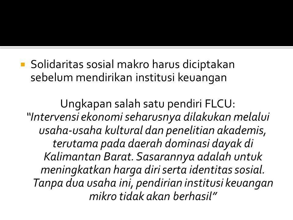  Solidaritas sosial makro harus diciptakan sebelum mendirikan institusi keuangan Ungkapan salah satu pendiri FLCU: Intervensi ekonomi seharusnya dilakukan melalui usaha-usaha kultural dan penelitian akademis, terutama pada daerah dominasi dayak di Kalimantan Barat.