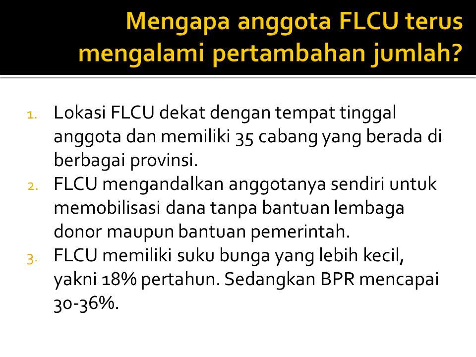 1. Lokasi FLCU dekat dengan tempat tinggal anggota dan memiliki 35 cabang yang berada di berbagai provinsi. 2. FLCU mengandalkan anggotanya sendiri un