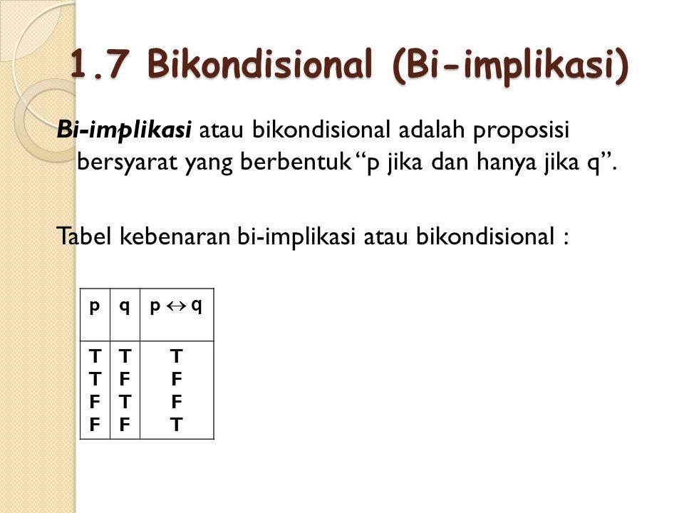 """1.7 Bikondisional (Bi-implikasi) Bi-implikasi atau bikondisional adalah proposisi bersyarat yang berbentuk """"p jika dan hanya jika q"""". Tabel kebenaran"""