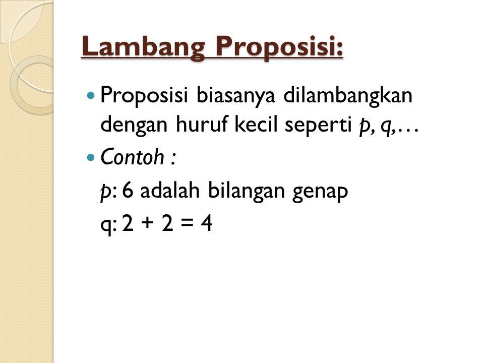 Lambang Proposisi: Proposisi biasanya dilambangkan dengan huruf kecil seperti p, q,… Contoh : p: 6 adalah bilangan genap q: 2 + 2 = 4