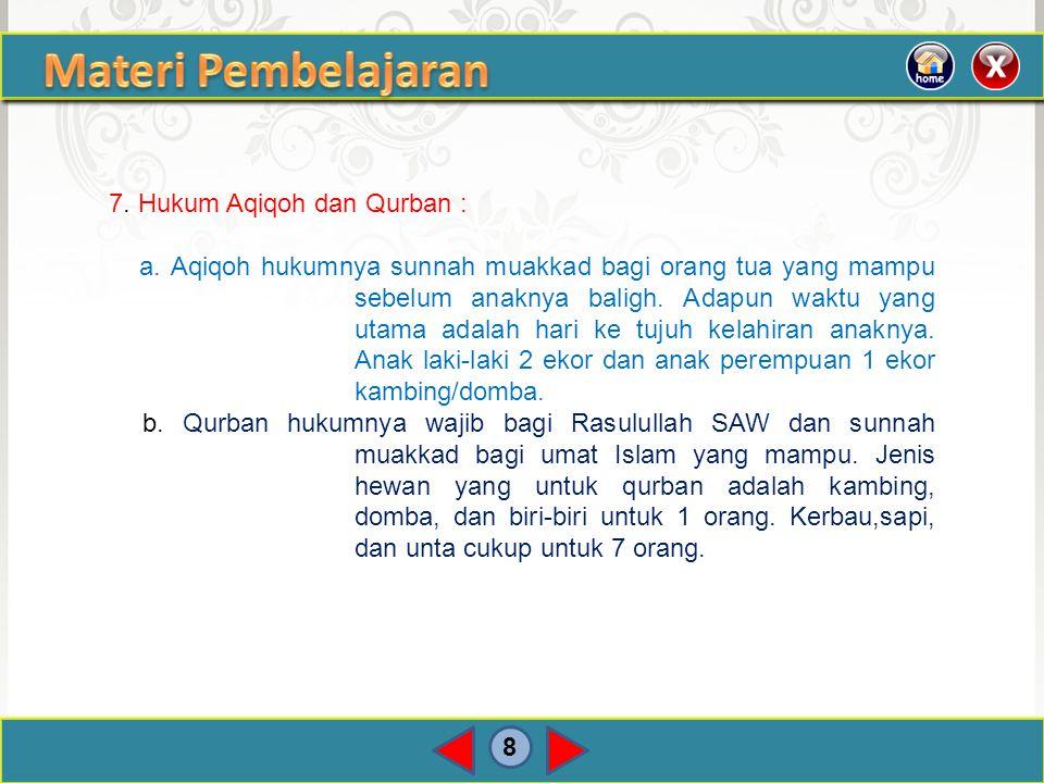8 7. Hukum Aqiqoh dan Qurban : a. Aqiqoh hukumnya sunnah muakkad bagi orang tua yang mampu sebelum anaknya baligh. Adapun waktu yang utama adalah hari