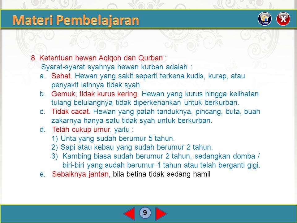 9 8. Ketentuan hewan Aqiqoh dan Qurban : Syarat-syarat syahnya hewan kurban adalah : a.Sehat. Hewan yang sakit seperti terkena kudis, kurap, atau peny