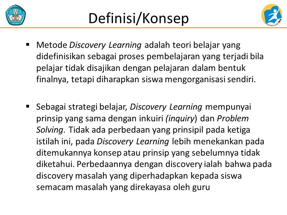  Metode Discovery Learning adalah teori belajar yang didefinisikan sebagai proses pembelajaran yang terjadi bila pelajar tidak disajikan dengan pelaj