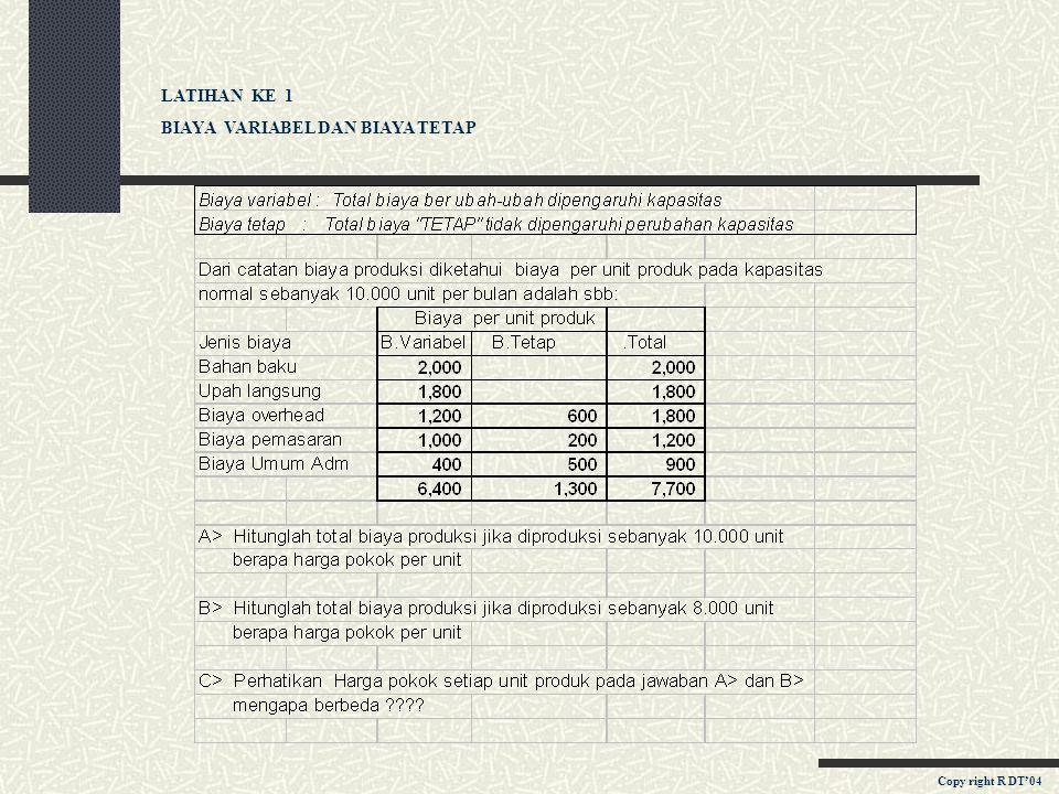 KONSEP DAN KLASIFIKASI BIAYA d. Menurut Objek biaya : Biaya langsung Biaya Tidak langsung e. Untuk pengambilan keputusan : Biaya diferensial Biaya inc