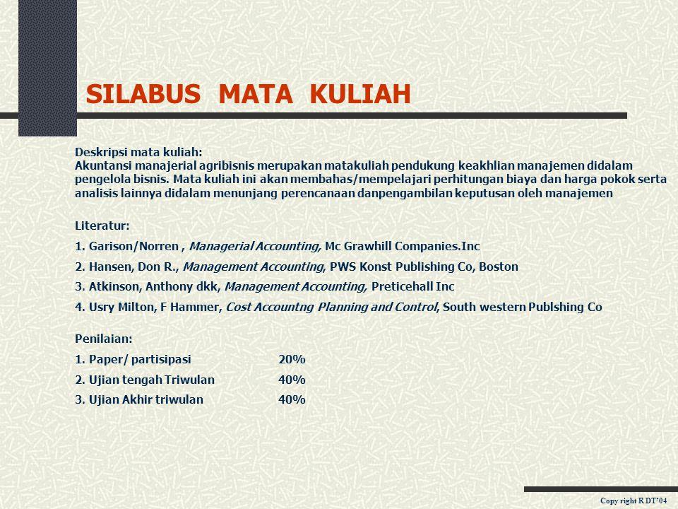 SILABUS MATA KULIAH Deskripsi mata kuliah: Akuntansi manajerial agribisnis merupakan matakuliah pendukung keakhlian manajemen didalam pengelola bisnis.