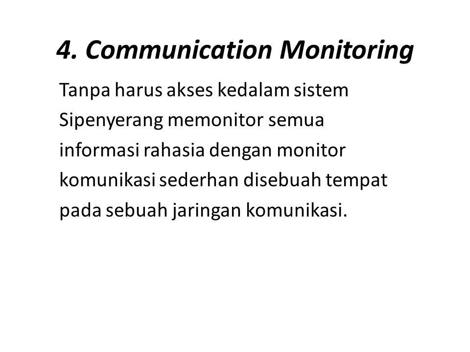 4. Communication Monitoring Tanpa harus akses kedalam sistem Sipenyerang memonitor semua informasi rahasia dengan monitor komunikasi sederhan disebuah
