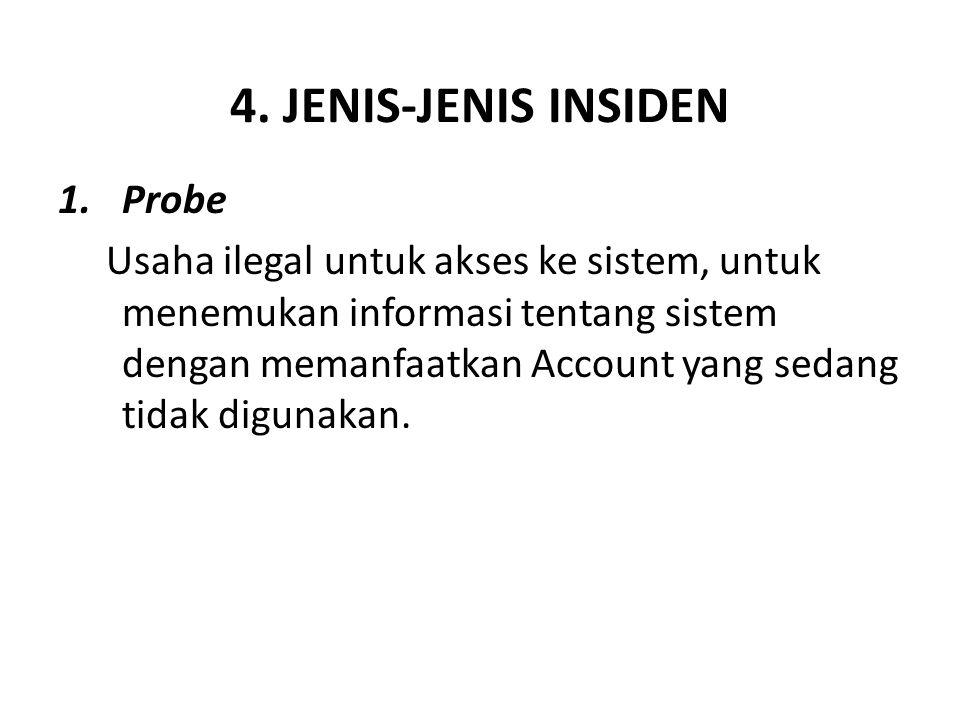 4. JENIS-JENIS INSIDEN 1.Probe Usaha ilegal untuk akses ke sistem, untuk menemukan informasi tentang sistem dengan memanfaatkan Account yang sedang ti