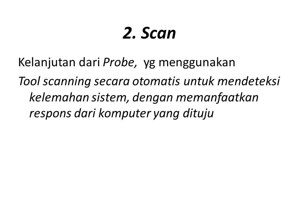 2. Scan Kelanjutan dari Probe, yg menggunakan Tool scanning secara otomatis untuk mendeteksi kelemahan sistem, dengan memanfaatkan respons dari komput