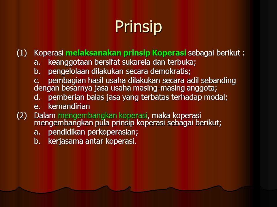 Prinsip (1) Koperasi melaksanakan prinsip Koperasi sebagai berikut : a.