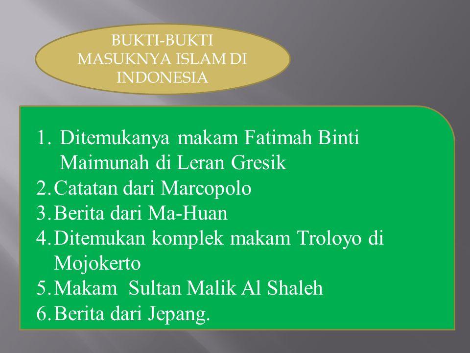 PROSES MASUKNYA ISLAM Proses penyebaran islam di Indonesia secara damai dilakukan dalam beberapa cara di antaranya: 1.Perkawinan 2.Pendidikan 3.Kesenian 4.Dakwah 5.Tasawuf