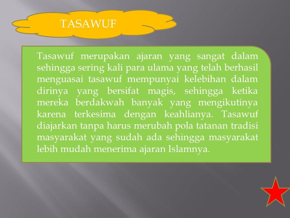 WALI SONGO 1.Maulana Malik Ibrahin/ Sunan Gresik 2.Sunan Ampel/ Raden Rakhmat 3.Sunan Bonang/ Maulana Makdhum Ibrahim 4.Sunan Giri/ Raden Paku 5.Sunan Kalijaga/ Raden Shyahid 6.Sunan Kudus/ Ja'far Sodiq 7.Sunan Muria /Raden Umar Syaid 8.Sunan Gunung Jati/ Fatakhillah 9.Sunan Drajad/ Syarifuddin