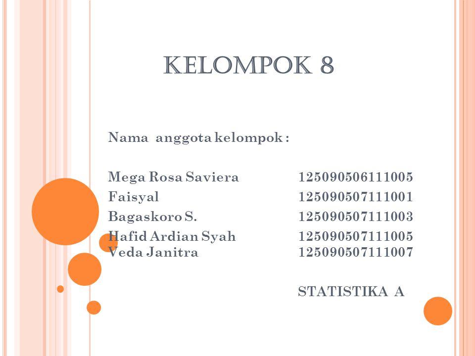 KELOMPOK 8 Nama anggota kelompok : Mega Rosa Saviera125090506111005 Faisyal125090507111001 Bagaskoro S.125090507111003 Hafid Ardian Syah125090507111005 Veda Janitra 125090507111007 STATISTIKA A