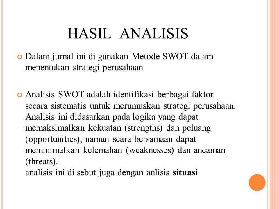 HASIL ANALISIS Dalam jurnal ini di gunakan Metode SWOT dalam menentukan strategi perusahaan Analisis SWOT adalah identifikasi berbagai faktor secara sistematis untuk merumuskan strategi perusahaan.