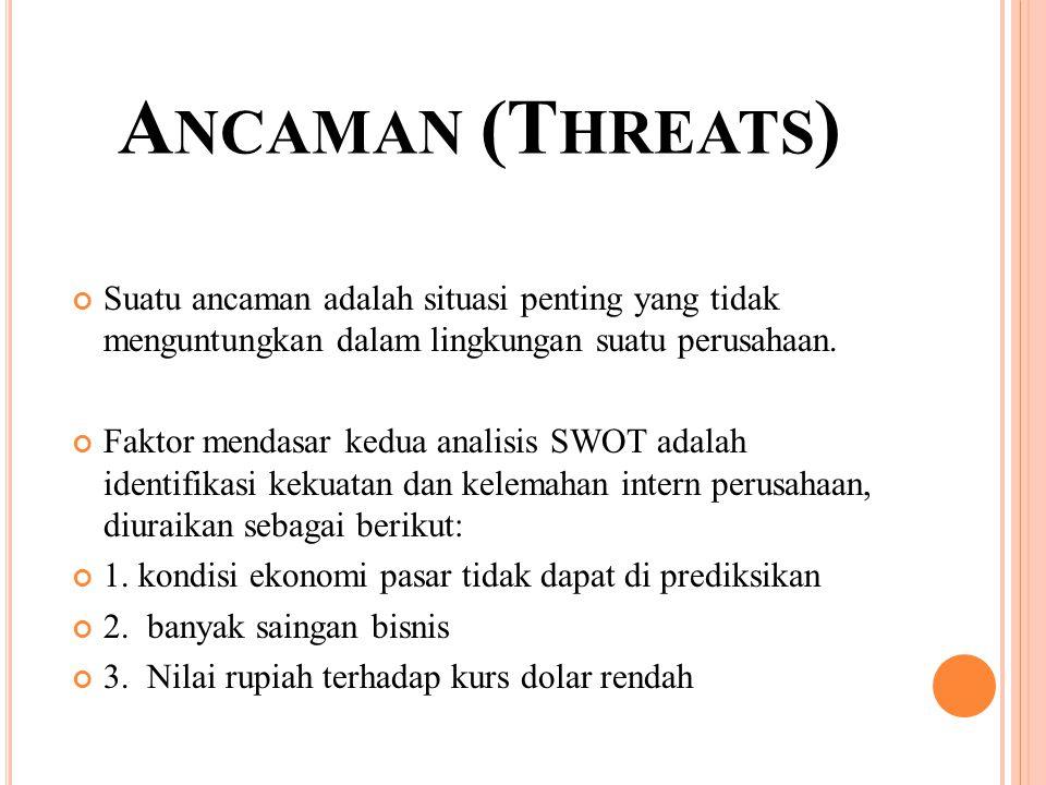 A NCAMAN (T HREATS ) Suatu ancaman adalah situasi penting yang tidak menguntungkan dalam lingkungan suatu perusahaan. Faktor mendasar kedua analisis S