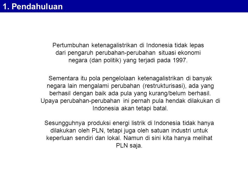 Pertumbuhan ketenagalistrikan di Indonesia tidak lepas dari pengaruh perubahan-perubahan situasi ekonomi negara (dan politik) yang terjadi pada 1997.