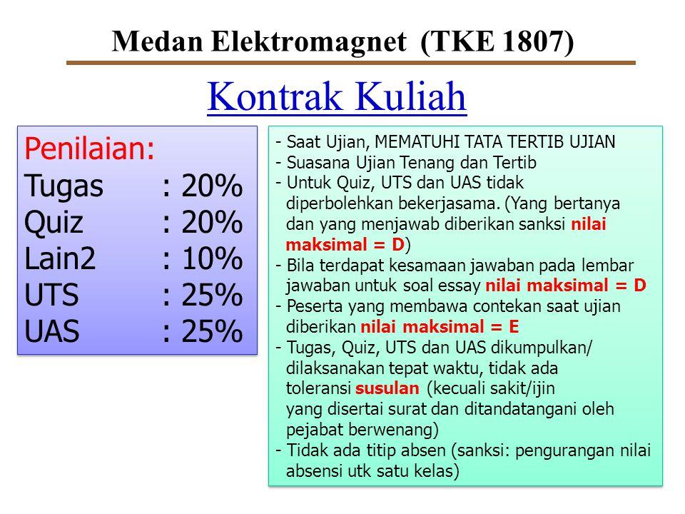 Medan Elektromagnet (TKE 1807) Kontrak Kuliah Penilaian: Tugas: 20% Quiz: 20% Lain2: 10% UTS: 25% UAS: 25% Penilaian: Tugas: 20% Quiz: 20% Lain2: 10%