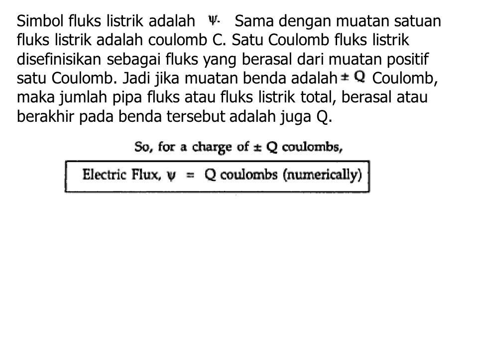 Simbol fluks listrik adalah Sama dengan muatan satuan fluks listrik adalah coulomb C. Satu Coulomb fluks listrik disefinisikan sebagai fluks yang bera