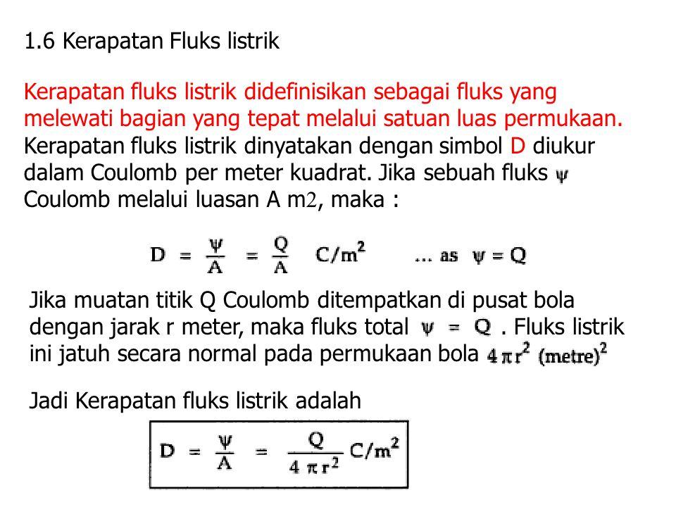 1.6 Kerapatan Fluks listrik Kerapatan fluks listrik didefinisikan sebagai fluks yang melewati bagian yang tepat melalui satuan luas permukaan. Kerapat