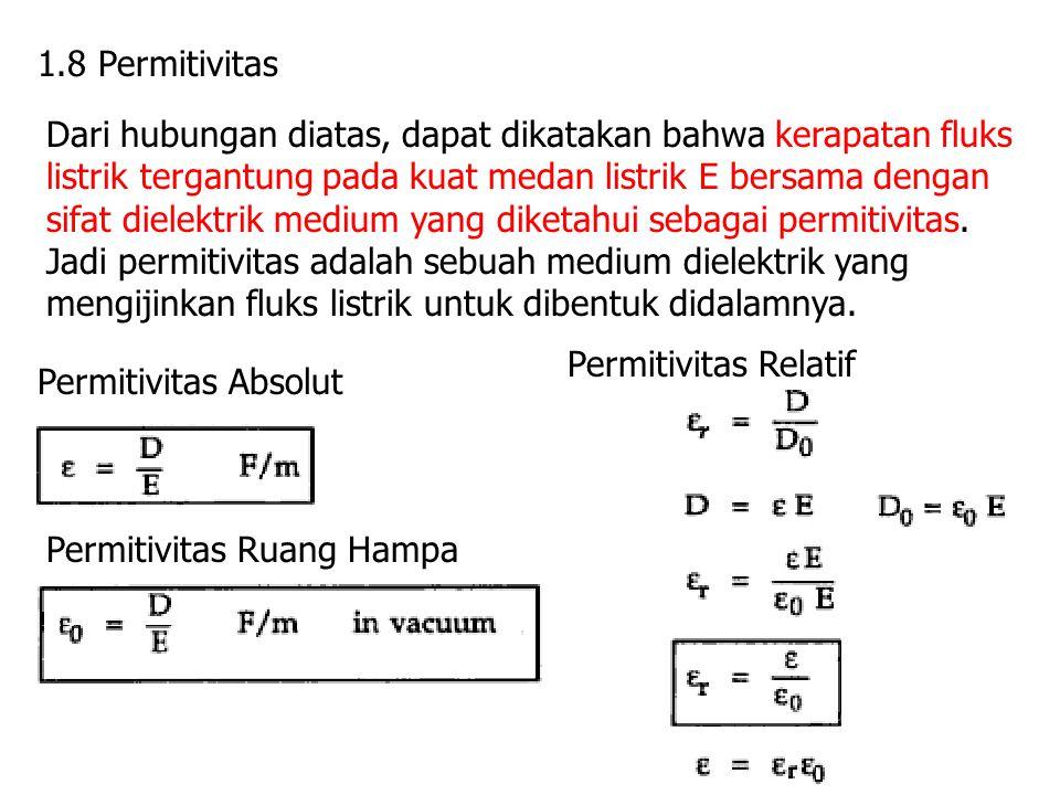 1.8 Permitivitas Dari hubungan diatas, dapat dikatakan bahwa kerapatan fluks listrik tergantung pada kuat medan listrik E bersama dengan sifat dielekt