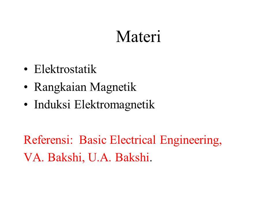Materi Elektrostatik Rangkaian Magnetik Induksi Elektromagnetik Referensi: Basic Electrical Engineering, VA. Bakshi, U.A. Bakshi.