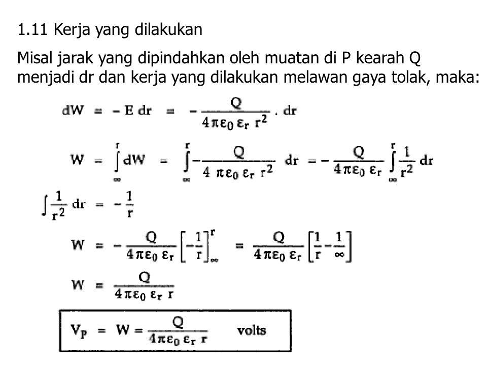 1.11 Kerja yang dilakukan Misal jarak yang dipindahkan oleh muatan di P kearah Q menjadi dr dan kerja yang dilakukan melawan gaya tolak, maka: