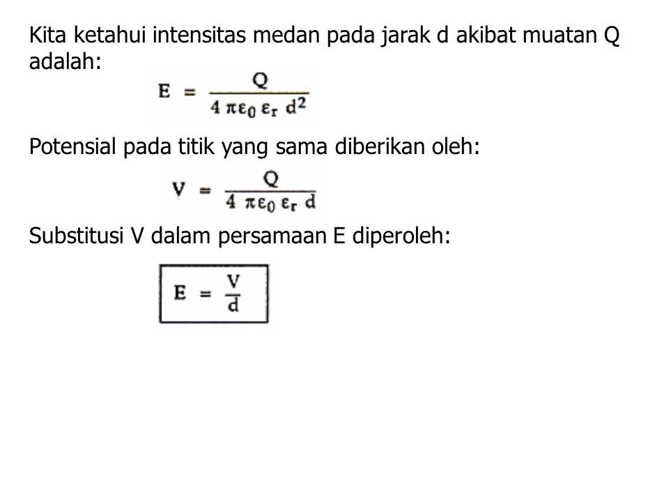 Potensial pada titik yang sama diberikan oleh: Substitusi V dalam persamaan E diperoleh: Kita ketahui intensitas medan pada jarak d akibat muatan Q ad