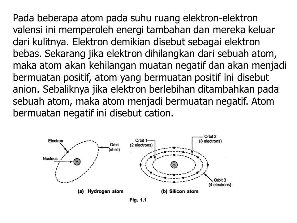 Pada beberapa atom pada suhu ruang elektron-elektron valensi ini memperoleh energi tambahan dan mereka keluar dari kulitnya. Elektron demikian disebut