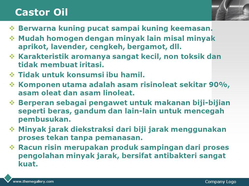 LOGO Castor Oil  Berwarna kuning pucat sampai kuning keemasan.  Mudah homogen dengan minyak lain misal minyak aprikot, lavender, cengkeh, bergamot,