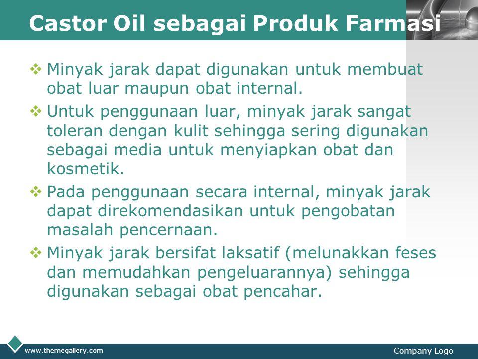 LOGO Castor Oil sebagai Produk Farmasi  Minyak jarak dapat digunakan untuk membuat obat luar maupun obat internal.  Untuk penggunaan luar, minyak ja