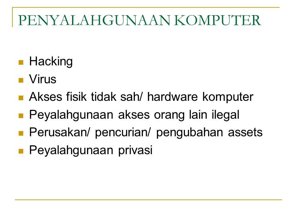 PENYALAHGUNAAN KOMPUTER Hacking Virus Akses fisik tidak sah/ hardware komputer Peyalahgunaan akses orang lain ilegal Perusakan/ pencurian/ pengubahan assets Peyalahgunaan privasi