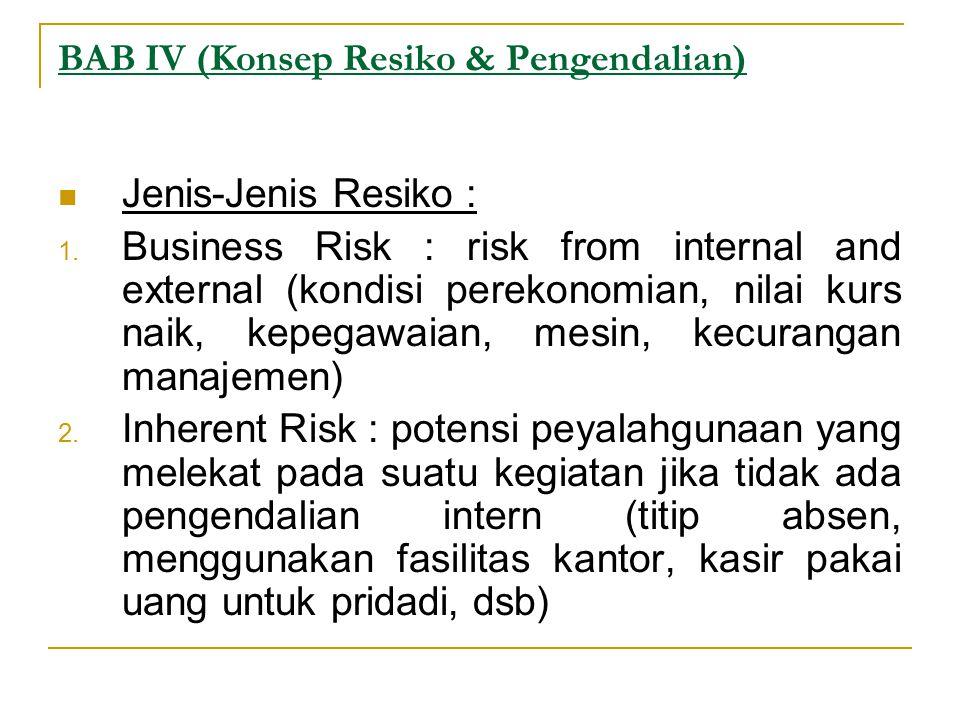 BAB IV (Konsep Resiko & Pengendalian) Jenis-Jenis Resiko : 1.