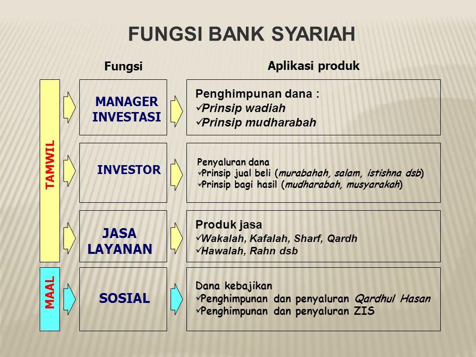  Jasa Keuangan  Dalam menjalankan fungsi ini, bank syariah tidak jauh berbeda dengan bank non-syariah yaitu sebagai penyedia jasa keuangan dan lalu
